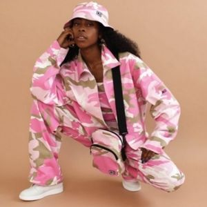 Melody Ehsani LA Pink Camo Worker Denim Jacket